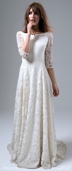 Lace wedding dress with long sleeves, backless, silk tulle, french ...