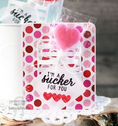Sucker Valentine's Gifts Laurie Schmidlin. Reverse Confetti stamp set: Sugary Sweet Sentiments. Confetti Cuts: Pretty Panels Straight Stripes and Square Tag. Valentine's Day party favors.