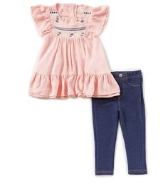940a5ebf9 Jessica Simpson Baby Girls 12-24 Months Embroidered Ruffle-Hem Top &  Jeggings Set