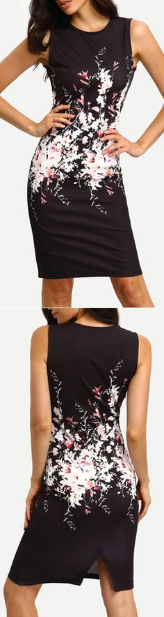 Black Floral Print Sleeveless Bodycon Dress