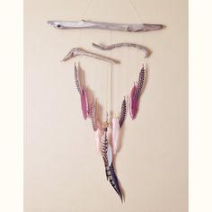 Feather and Driftwood Wall Hanging  Bohemian by InspiredSoulShop, $60.00