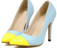 Blue Yellow High Heel Point Toe Pumps. spenditonthis.com