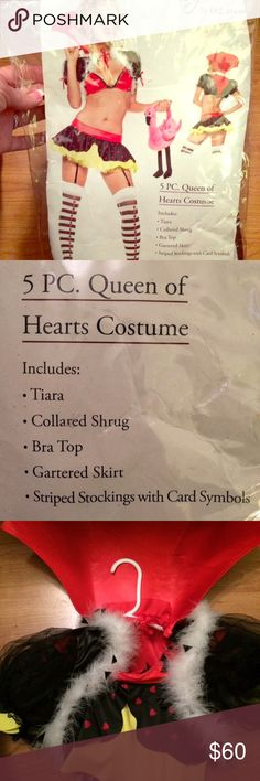 Sexy Queen of Hearts Costume! Sexy Queen of Hearts Costume! Worn once in great condition. Only sign of wear is on the bottoms of the stockings! Includes all items on package plus the added flamingo stuffed prop. Bra top never worn. Size small fits true to size. Paid over $85 asking $60 Obro. Other
