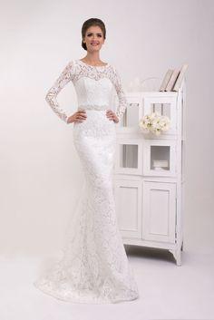 2bfe4d74860e Luxusné celokrajkované svadobné šaty s dlhým rukávom Nessa