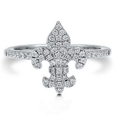 Clear Cubic Zirconia CZ Sterling Silver 925 Fleur De Lis Fashion Ring from Berricle - Price: $41.99