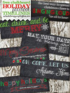 Free Chalkboard Holiday Facebook Timelines | Instant downloads, 6 designs to choose from