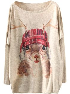 Apricot Hat Mouse Print Loose Sweater