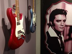 {*Display of Guitars with Elvis Portrait - Graceland (Elvis Presley Mansion) - Memphis - Tennessee - USA*}