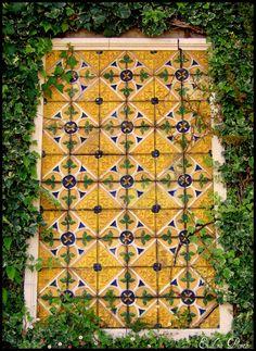 Azulejo com moldura Jardim do roseiral -Palácio de Cristal