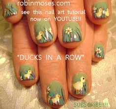 DUCKS in a row nails. easter nail art   www.youtube.com/watch?v=u_V6PVCaRqM