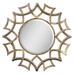 Global Direct�40.25-in x 40.25-in Antiqued Gold with A Light Gray Glaze and Burnished Edges Round Framed Mirror