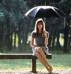 Francoise Hardy - umbrella, rain, peacefulness