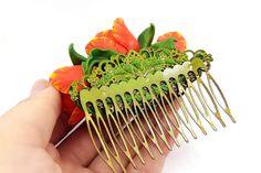 Handmade Hair Comb Realistic Orange Tulip Flowers от SweetyBijou