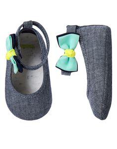 Chambray Bow Crib Shoes at Gymboree (Gymboree 0-24m)