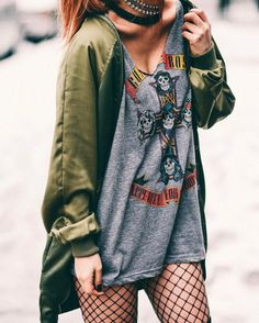 Oversized vintage band shirt with choker necklace, green jacket & oversized fishnet tights by luanna90