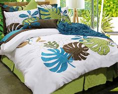 Great theme decor site - this search was for tropical - Island Dreams by Alamode is a wonderful way to take yourself back to the fabulous vacation spot of your dreams! Bright white background of Tropical Bedding, Tropical Bedroom Decor, Tropical Furniture, Tropical Bedrooms, Beach Bedrooms, Colorful Bedding, Hawaiian Theme Bedrooms, Hawaiian Decor, Hawaiian Baby