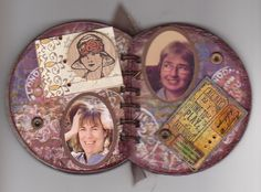 Coil bound Altered CD book ~ open view.