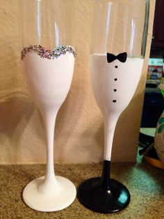 Bride and Groom champagne glasses by PreppyPinkie on Etsy, $15.00