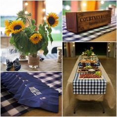 Woodburned signs, sunflowers, gingham, and burlap...all contenders for barn wedding decor.