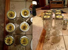 diy Redneck Wine Glasses. Mason jars glued (with super super duty glue) to glass candlesticks. Then personalized with your wedding flowers painted on the top along with the names of your bridesmaids! Soooo cute!