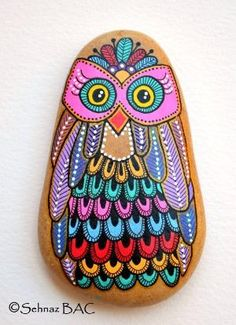 Hand Painted Stone Owl by ana
