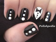 Polishpedia X.dressesup her nails with a tuxedo and bow tie!