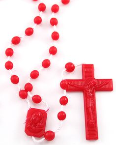 Red Plastic Rosaries. Unlike other plastic rosaries on the market, ours are made with the latest technology out of high quality nylon, including the string. From that perspective they should not crack or break. (As child safe as can be). We've sold millions of these rosaries and have never had a complaint.