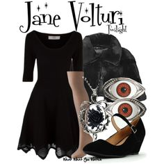 Inspired by Dakota Fanning as Jane Volturi in the Twilight film franchise. cute minus the eyes O.O lol and idk about the jacket but look the dress and necklace Casual Fall Outfits, Cute Outfits, Movie Outfits, Black Outfits, Twilight Saga, Twilight Movie, Twilight Photos, Twilight Outfits, Character Inspired Outfits
