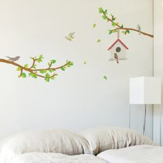 2 Branches and A Bird House Wall Stickers