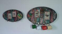 Placas decorativas Porta chaves e Porta canequinhas. Estilo madeira de demolição