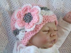 Crochet Baby Hat, Newborn Baby Chevron Hat, Baby Girl Hat, Infant Baby Hat, Pink, Gray, Gift, Photo Prop on Etsy, $14.00
