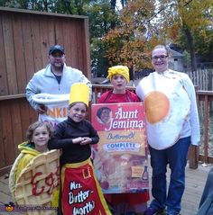 April: Each year our family themes it up for Halloween! My daughter chose this year's theme by wanting to go as Mrs. Butterworth and surprisingly, my youngest was watching a cartoon...