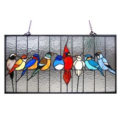 """""""AVES"""" Tiffany-glass Window Panel Panel Chain Length (in) N/A. Since these are handcrafted products, the exact color of glass pieces may vary. Colors of the glass will appear darker and less vibrant when not illuminated. Tiffany Glass, Tiffany Stained Glass, Stained Glass Birds, Faux Stained Glass, Stained Glass Designs, Stained Glass Panels, Stained Glass Projects, Fused Glass, Stained Glass Patterns Free"""