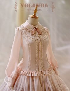 Yolanda -Bunny& Herbology- Lolita Blouse with Beautiful Embroideries on Collar and Sleeves Old Fashion Dresses, Vintage Style Dresses, Simple Dresses, Cute Dresses, Girls Dresses, Lolita Fashion, Hijab Fashion, Fashion Outfits, Lolita Dress