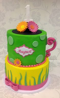Garden themed first birthday cake from The Cupcake Shoppe in Raleigh.