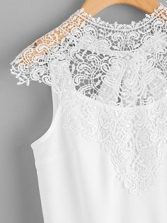 Lace Yoke Bow Tie Open Back Top -SheIn(Sheinside) Romwe, Indian Fashion Trends, Open Back Top, Top P, Blouse, Casual Outfits, Chic, Store, Neckline