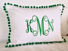 Monogrammed Pique or Twill Pom Pom Pillow Cover by peppermintbee Monogram Shop, Monogram Pillows, Applique Monogram, Circle Monogram, Cute Pillows, Bed Pillows, Dorms Decor, Make Your Own Pillow, Printed Cushions