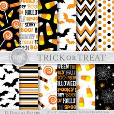 HALLOWEEN Digital Paper / Trick or Treat Patterns / Black and