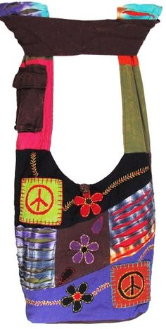 Hobo Bohemian Hippie Ripped Razor Cut Om Peace Shoulder Sling Crossdody Monk Bag Purse Nepal