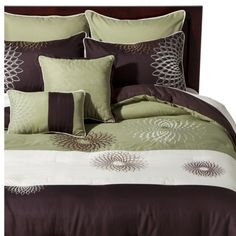 Medallion Embroidered 8 Piece Bedding Set - Green/Brown Target  This is the new bedding I want to replace the Kohl's bedding that didn't last