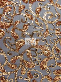 "PAISLEY SWIRL SEQUINS MESH FABRIC - Gold - 50""/54"" WIDTH SOLD BY THE YARD #BIGZFABRIC"