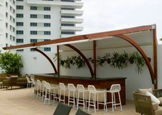 Corradi Arko Pergotenda installed at the Eden Roc Hotel and Resort by Miami Awning Company