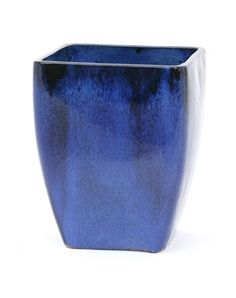a large tall square glazed garden patio planter from apta that has been glazed in classic blue - Large Ceramic Planters