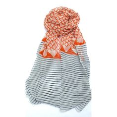 Block Print Scarf Orange White - Fab II Catalog Spree -