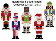 Nutcracker 5 Bead Pattern Collection | Bead-Patterns Pearler Bead Patterns, Peyote Patterns, Beading Patterns, Nutcracker Crafts, Nutcracker Ornaments, Christmas Perler Beads, Beaded Christmas Ornaments, Christmas Jewelry, Xmas Cross Stitch