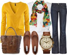 Fall fashion - yellow! And scarf!
