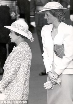 The Queen and Princess Diana are pictured at the State visit of the President of the Federal Republic of Germany in July 1986