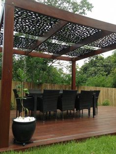 The pergola kits are the easiest and quickest way to build a garden pergola. There are lots of do it yourself pergola kits available to you so that anyone could easily put them together to construct a new structure at their backyard. Pergola Canopy, Pergola With Roof, Outdoor Pergola, Wooden Pergola, Backyard Pergola, Pergola Plans, Outdoor Rooms, Backyard Landscaping, Outdoor Living