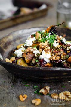 roast winter heirloom vegetable salad with feta and walnuts