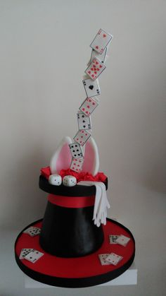 Floating cards magic hat cake.